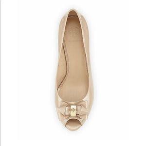 Tory Burch Nude Wedge Pump Peep Toe